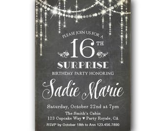 Teen Surprise Party Invitation 16th Birthday Invites Sweet 16 Invitations Chalkboard