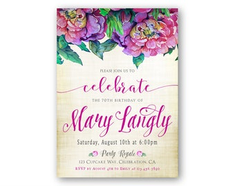 elegant 80th birthday invitations for a woman sophisticated etsy
