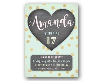 Heart 17th Birthday Invitations for Teenage Girl's // Girl's 17th Birthday Party Invites // 16th Birthday // 15th Birthday // Any Age
