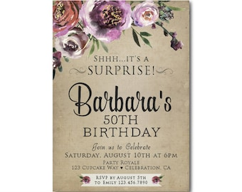 Surprise Party Invitations Printable Black Gold Surprise