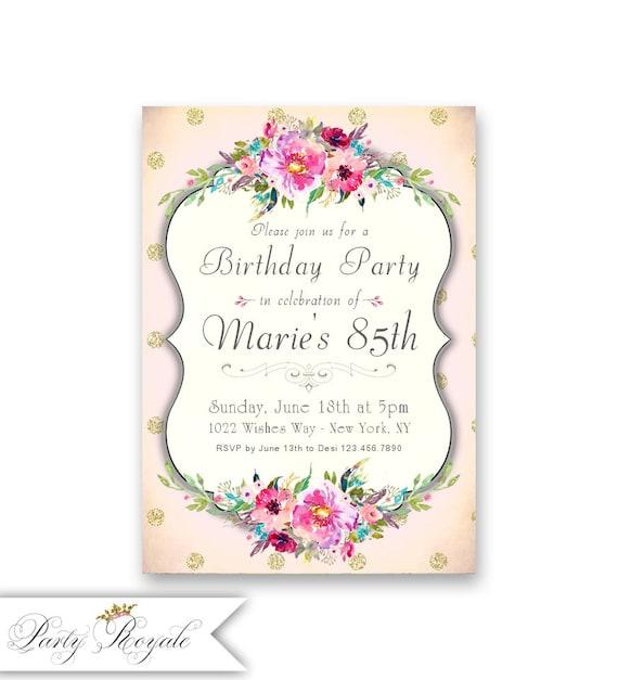 Womens 85th birthday invitations milestone birthdays of etsy image 0 filmwisefo