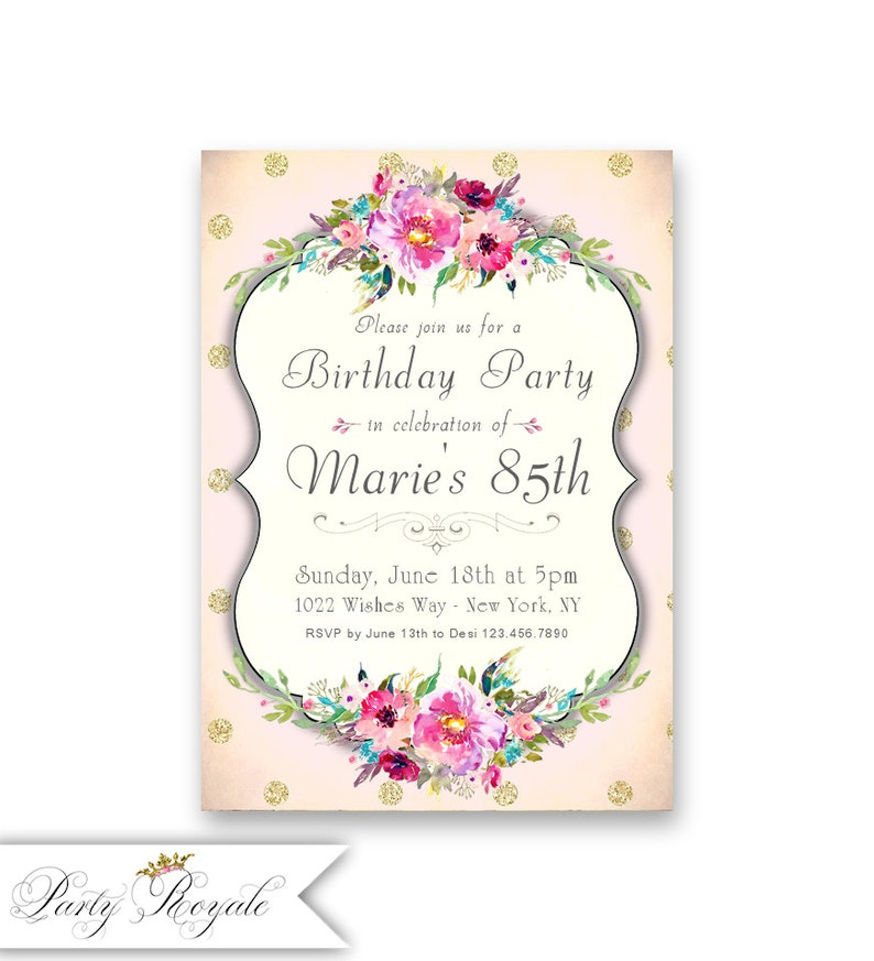 Womens 85th Birthday Invitations Milestone Birthdays Of