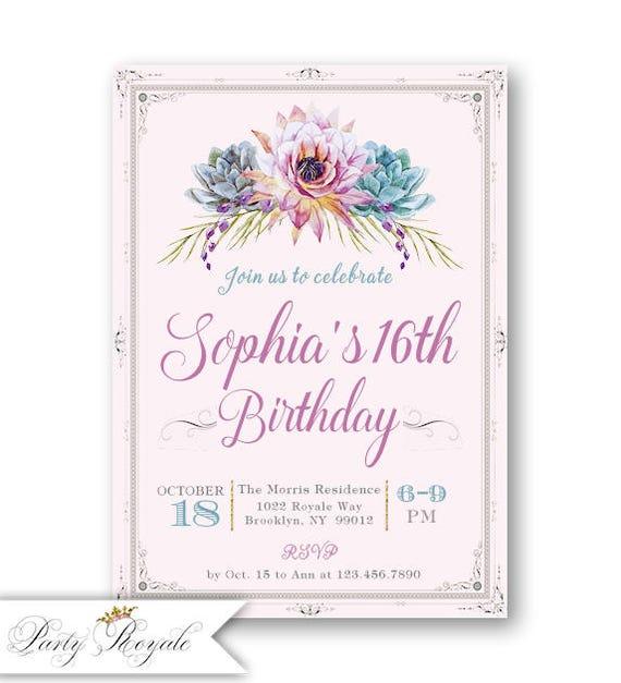 16th birthday invitations 16th birthday invitations spanish etsy