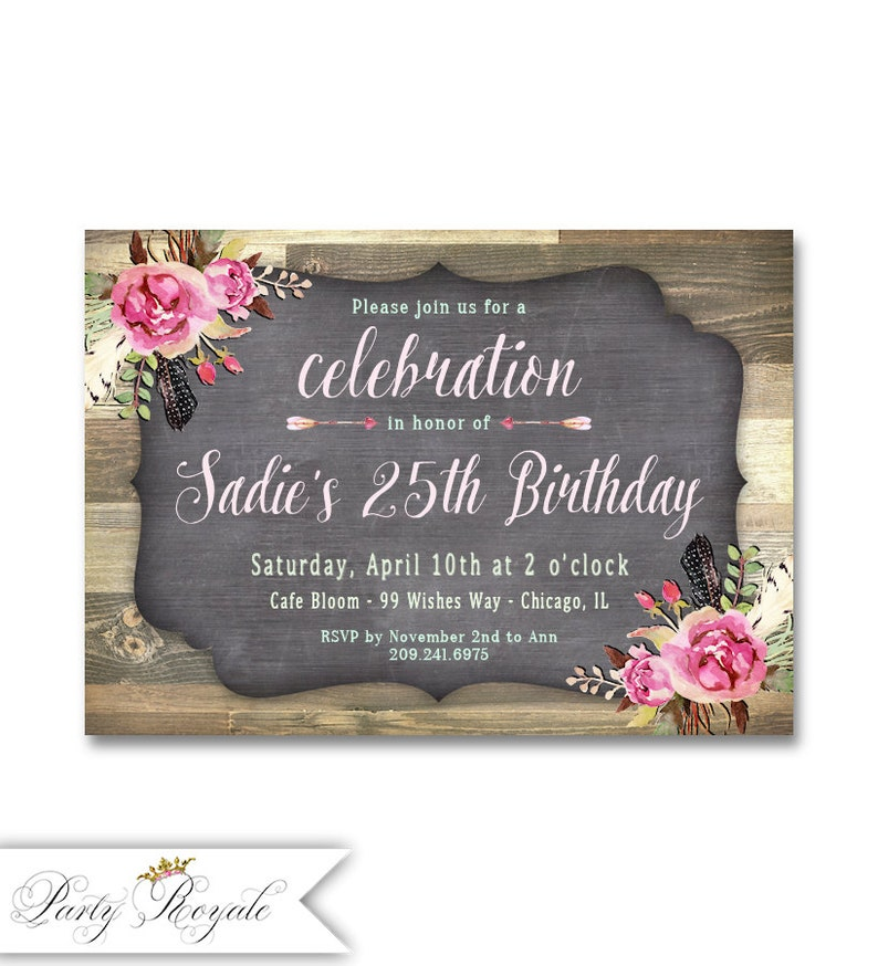 25th Birthday Invitation Adult Invite Digital