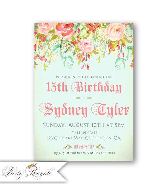 Girls 13th birthday party invitations teenage girl etsy image 0 filmwisefo