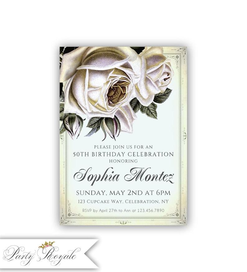 Elegant Vintage 50th Birthday Invitations For Her Adult