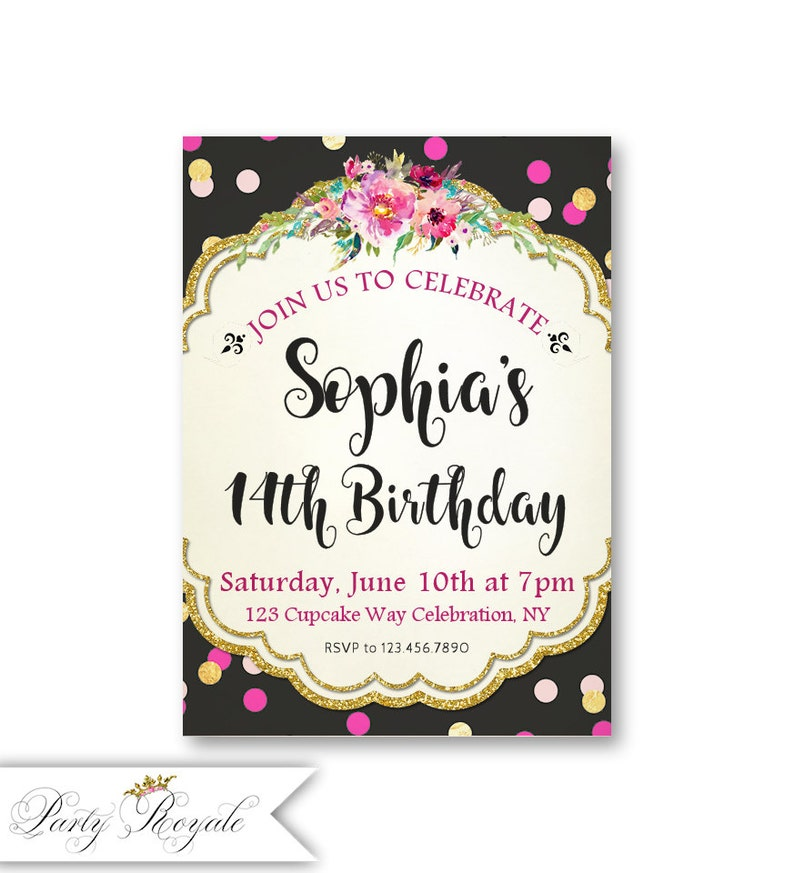 Girl S 14th Birthday Invitations Teen Birthday Party Etsy