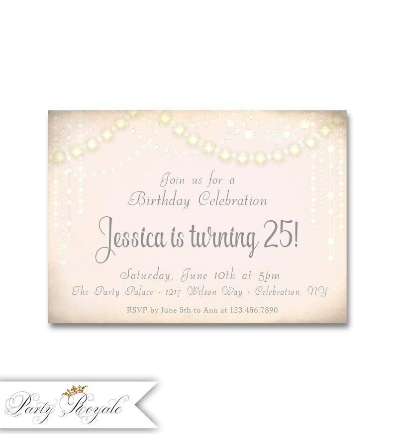 25th Birthday Invitations For Her Digital Or Printed