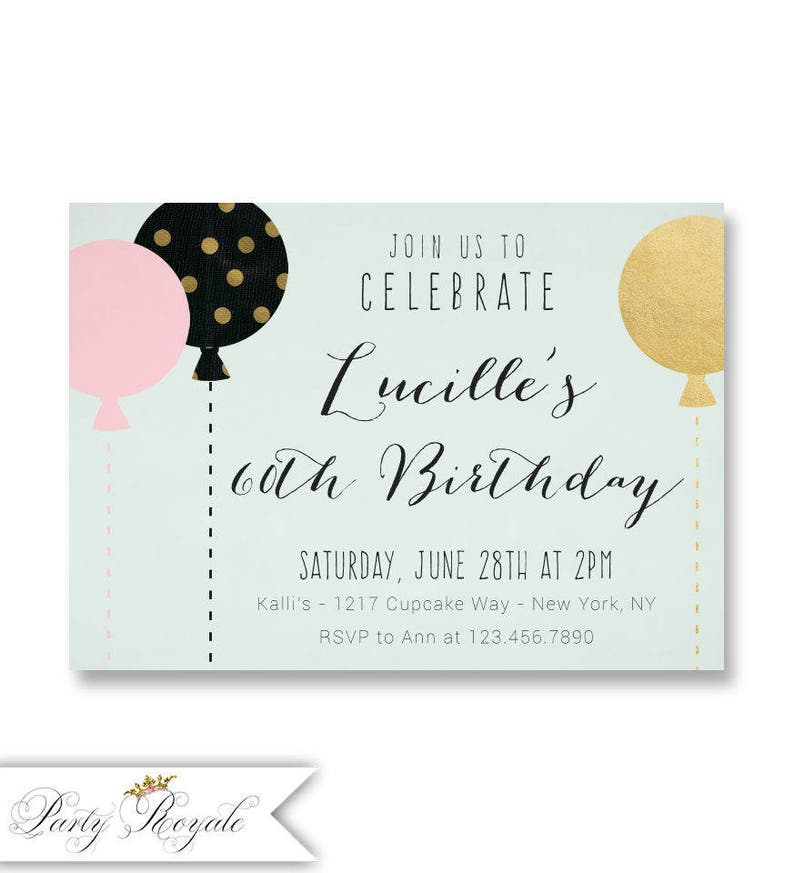 Printable 60th Birthday Invitation For Her Party Balloon