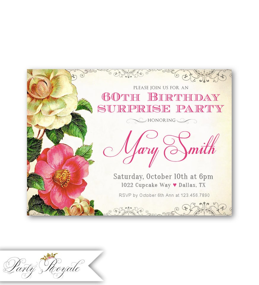 60th SURPRISE Party Birthday Invitations for Women 60 and | Etsy