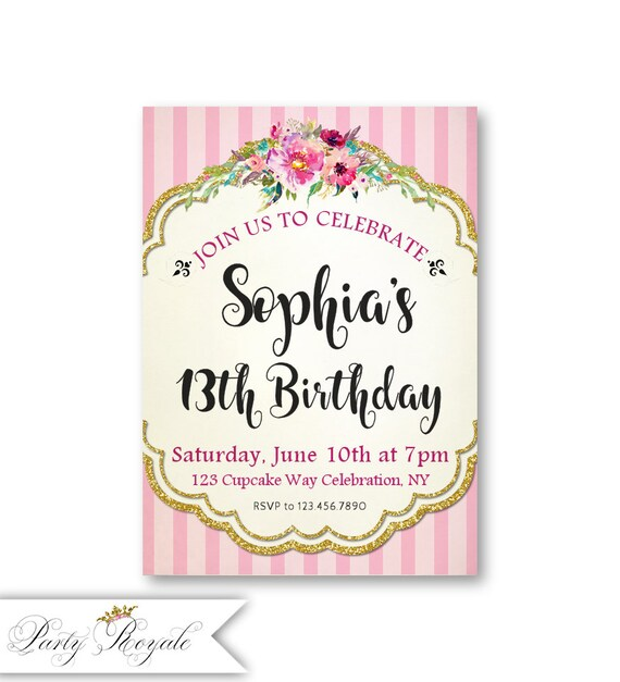 13th Birthday Invitations For A Teen Girl Shabby Chic