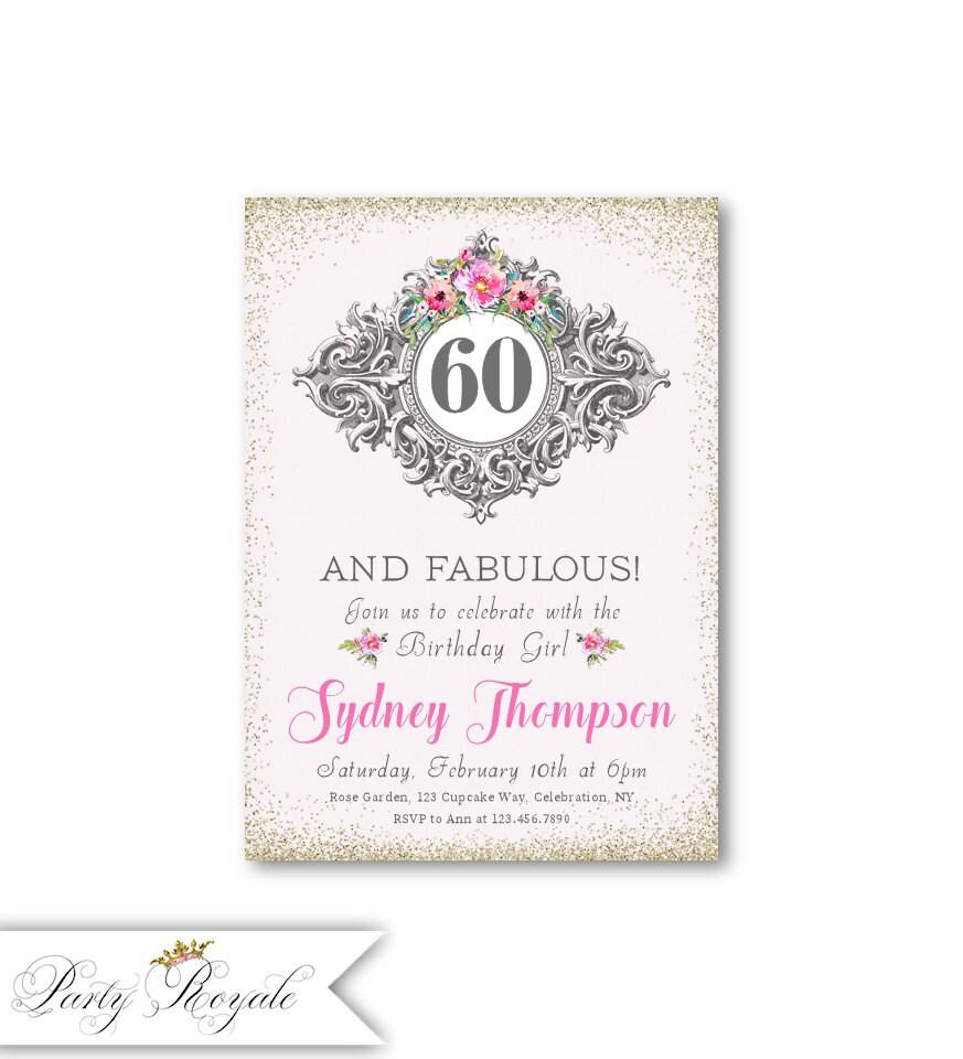 60th Birthday Invitations / 60 and Fabulous / Elegant Birthday | Etsy