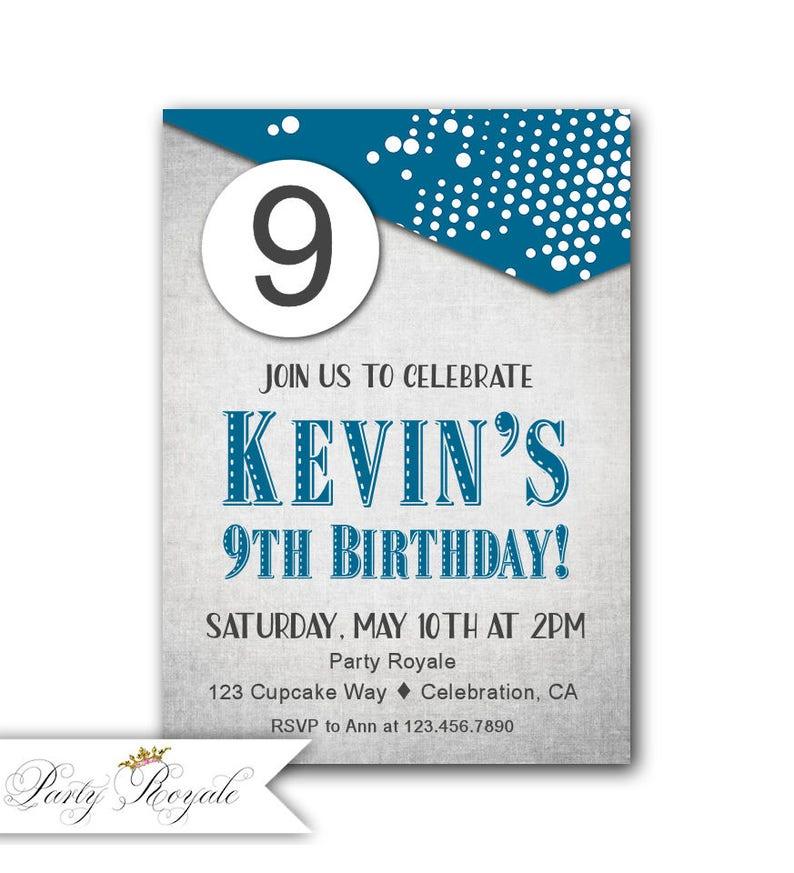 9th Birthday Invitation Boy Blue Party Invites