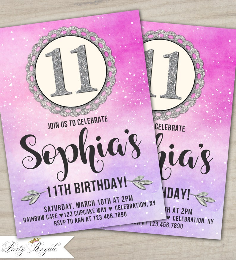 Printable 11th Birthday Invitations Party