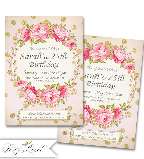 Adult Birthday Invitations For Her 25th Party Invites Any Age Pink And Gold Glitter Shabby Chic Style Elegant
