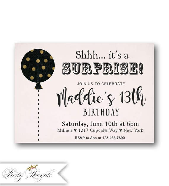 SURPRISE 13th Birthday Invitations For Teen Girls