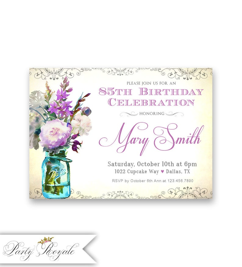 Womens 85th Birthday Invitations Purple Lavender