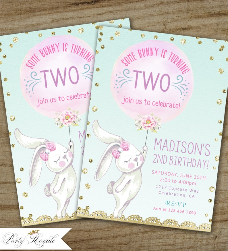 Some Bunny Invitation Theme Birthday Invite Little Rabbit Party Is Turning 2 Girls 1st 2nd 3rd