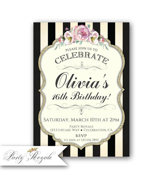 16th birthday invitation girl 16th birthday invite sweet 16 etsy