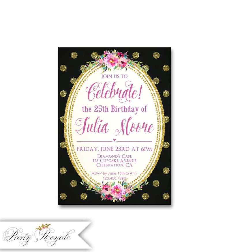 Black And Gold Birthday Invitations For Women 25th Party