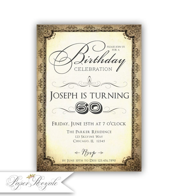 60th Birthday Invitation For Man Brown Ivory Party