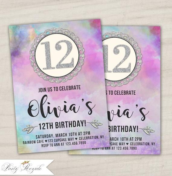 12th Birthday Invitations Tween Birthday Party Invitation Etsy