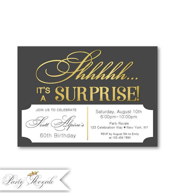 60th Surprise Birthday Invitations For Men Surprise Party Etsy