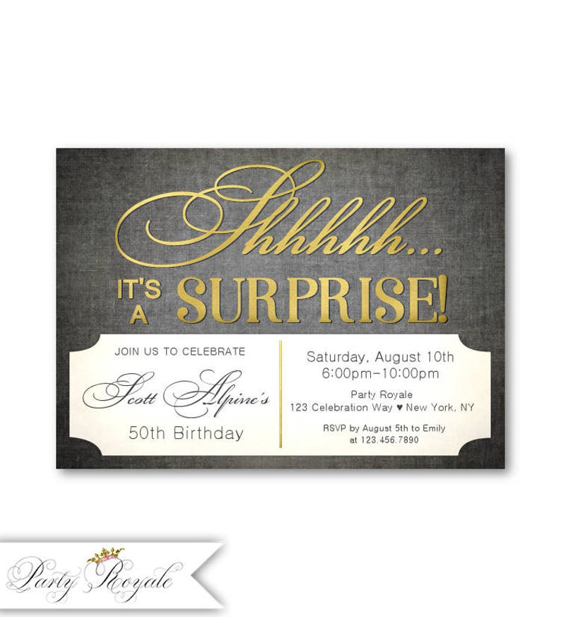 Mens Surprise Party Invitations 50th Birthday