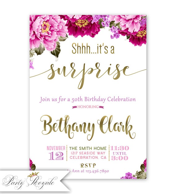surprise party invitations surprise birthday party invites etsy