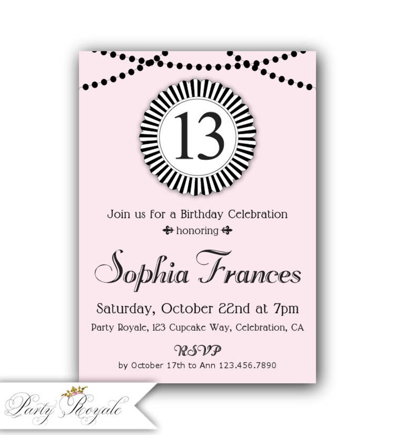 Pink And Black 13th Birthday Invitations Teen Invitation For Girls 14th 15th Or Any Age Girl