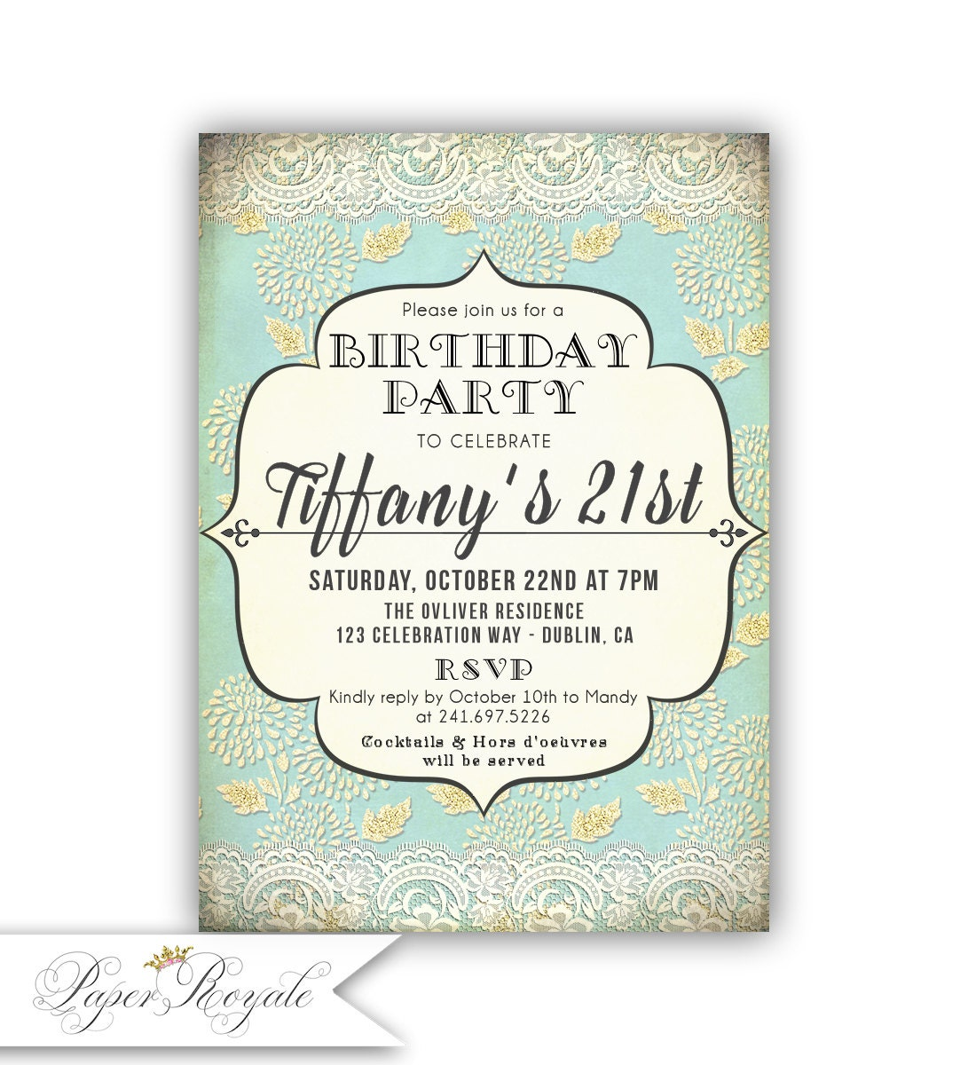 Turquoise and Gold 21st Birthday Invitations for a woman   Etsy