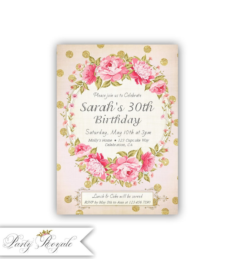 Pink And Gold 30th Birthday Invitations For Her Surprise