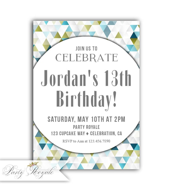 Boys 13th Birthday Invitation Invite