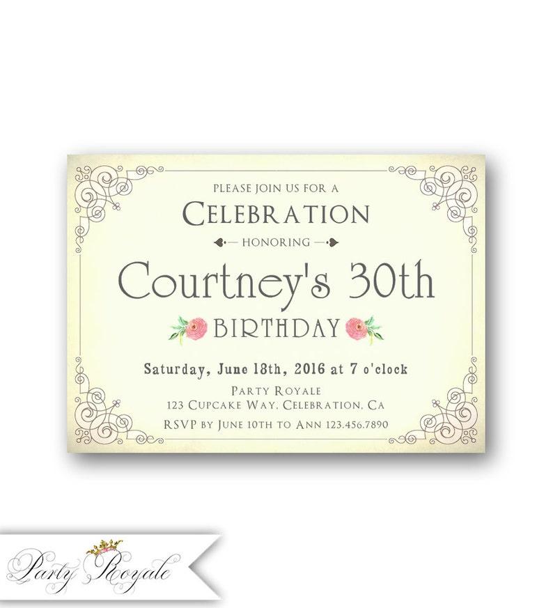 30th Birthday Invitations For Her Elegant Adult