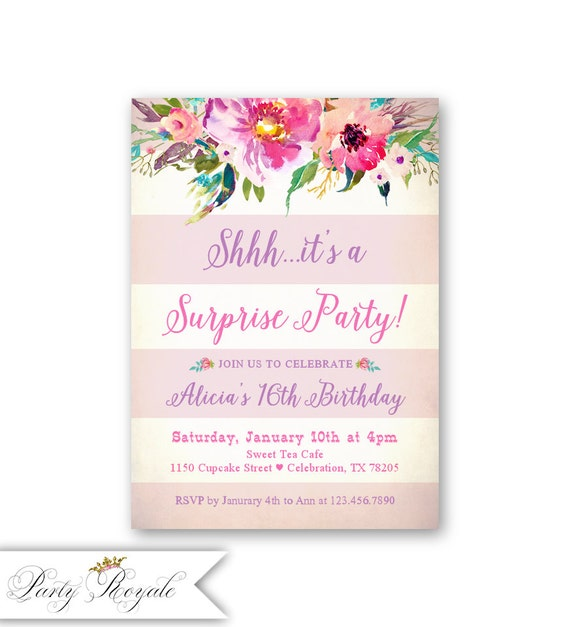 Surprise 16th Birthday Invitations Party For Teen