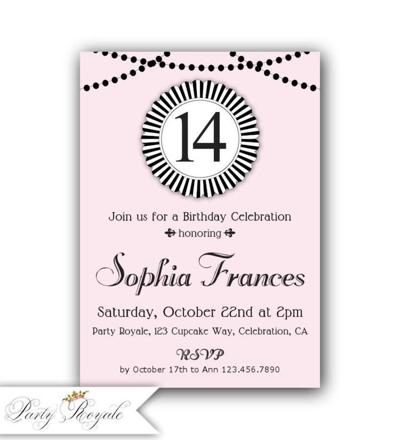 14th Birthday Invitation 13th 12th