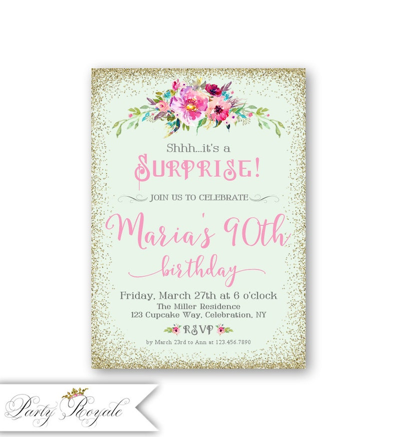 90th Surprise Birthday Party Invitations Womens