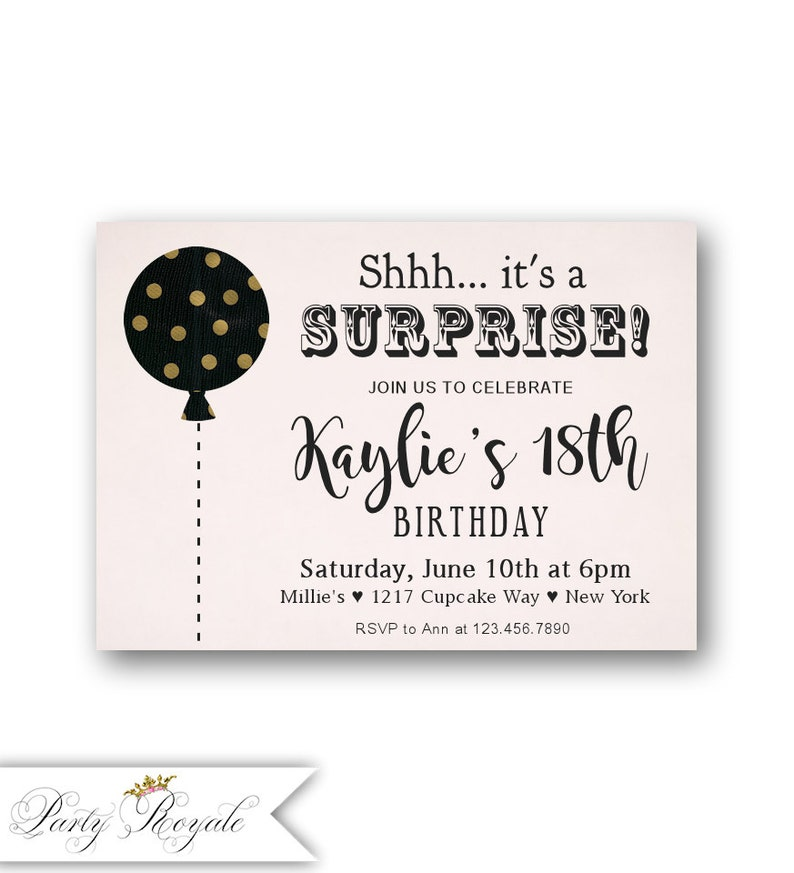 SURPRISE 18th Birthday Invitations Pink Gold And Black Party Theme Teen Birt