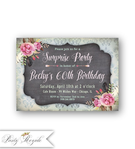 Women S 60th Surprise Birthday Invitations Vintage Style Etsy