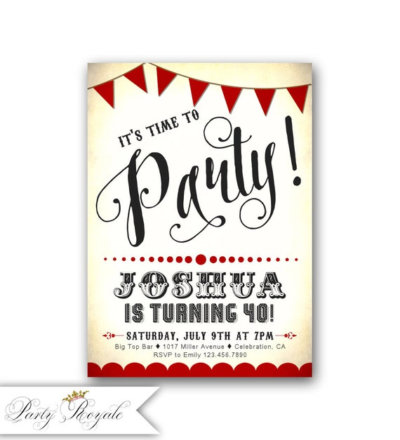 Red and Black Adult Birthday Invitations for men or women  2e50f3c0e5