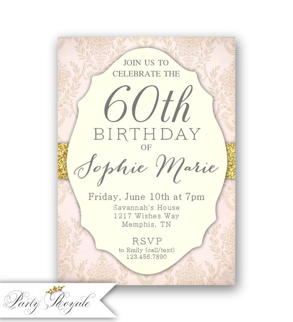 Elegant 60th Birthday Invitations Womens
