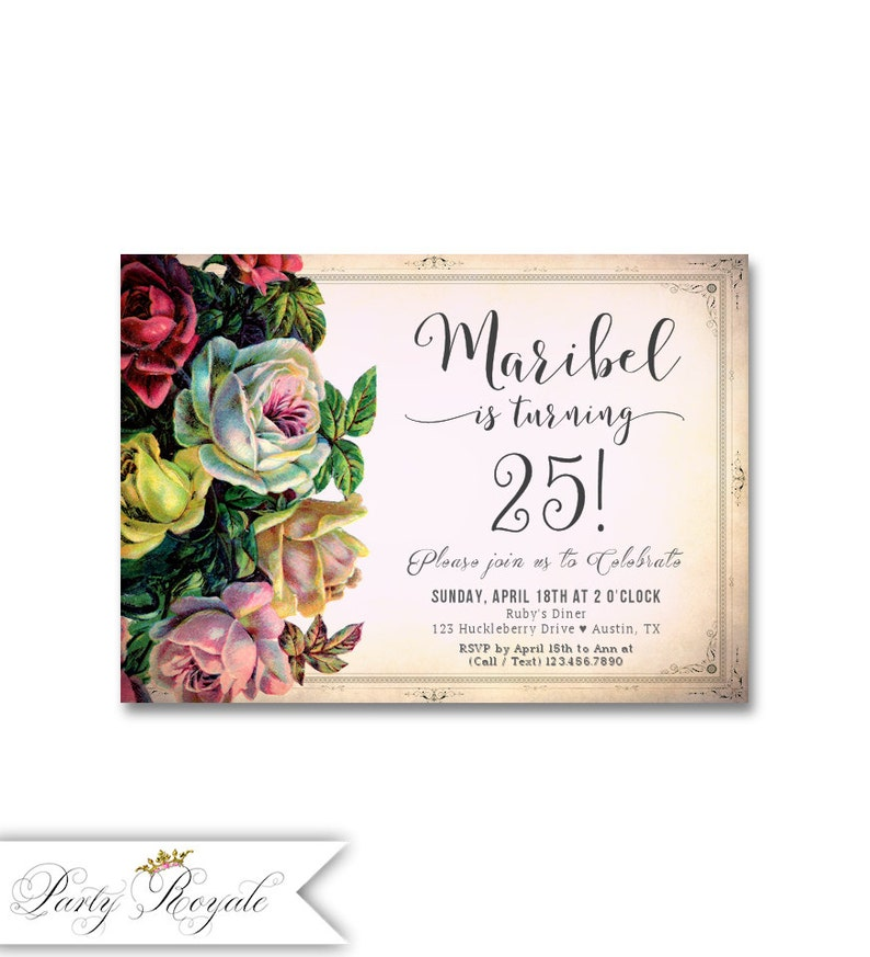 Elegant Birthday Invitations For Women 25th Party