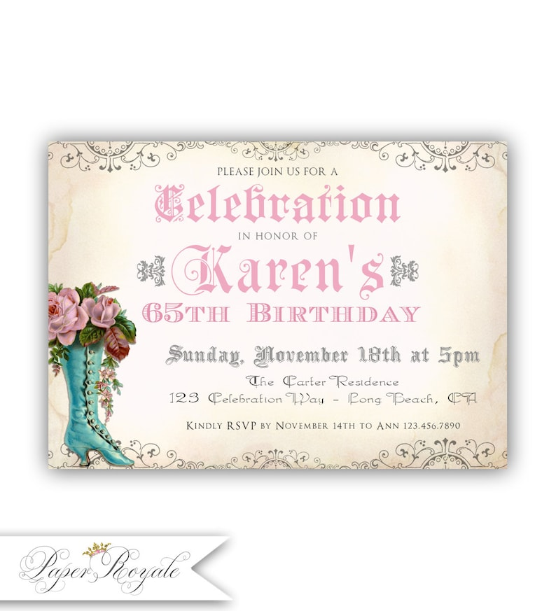 65th Birthday Invitations Adult Party