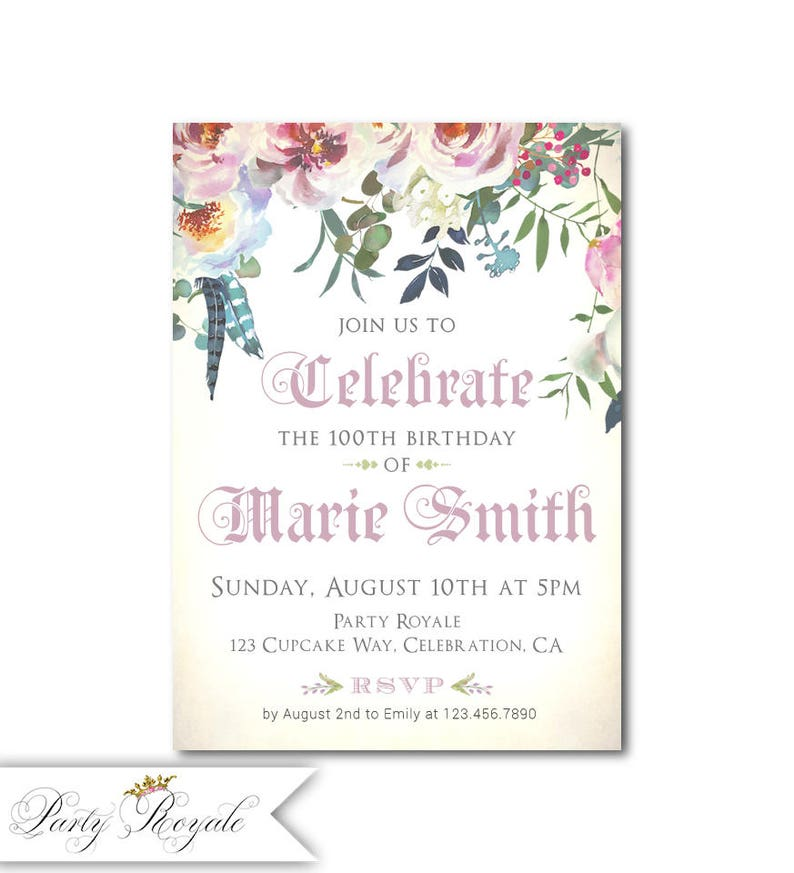 Womens 100th Birthday Invitations 100 Years Old Or Any