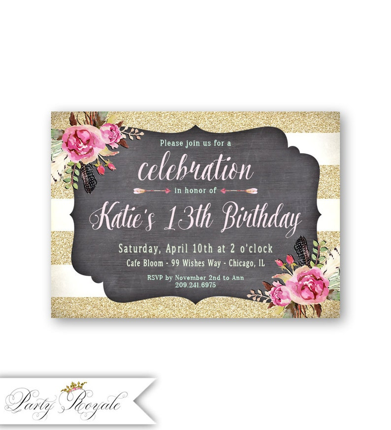 Teen Birthday Invitations Girls 13th Party