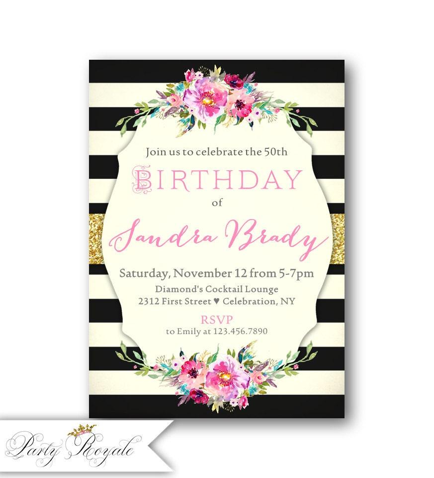 Adult Birthday Invitation / 50th Birthday Invitations / | Etsy