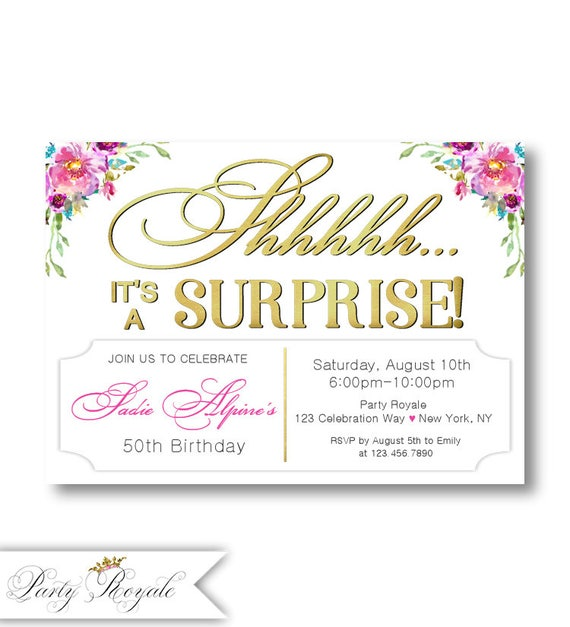 Surprise Birthday Invitations For Women 50th Birthday Etsy