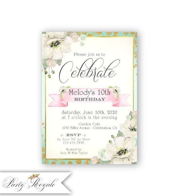 Estilo Vintage Floral 16 Invitaciones Cumpleaños Fiesta Chic invita a chicas Tea Party