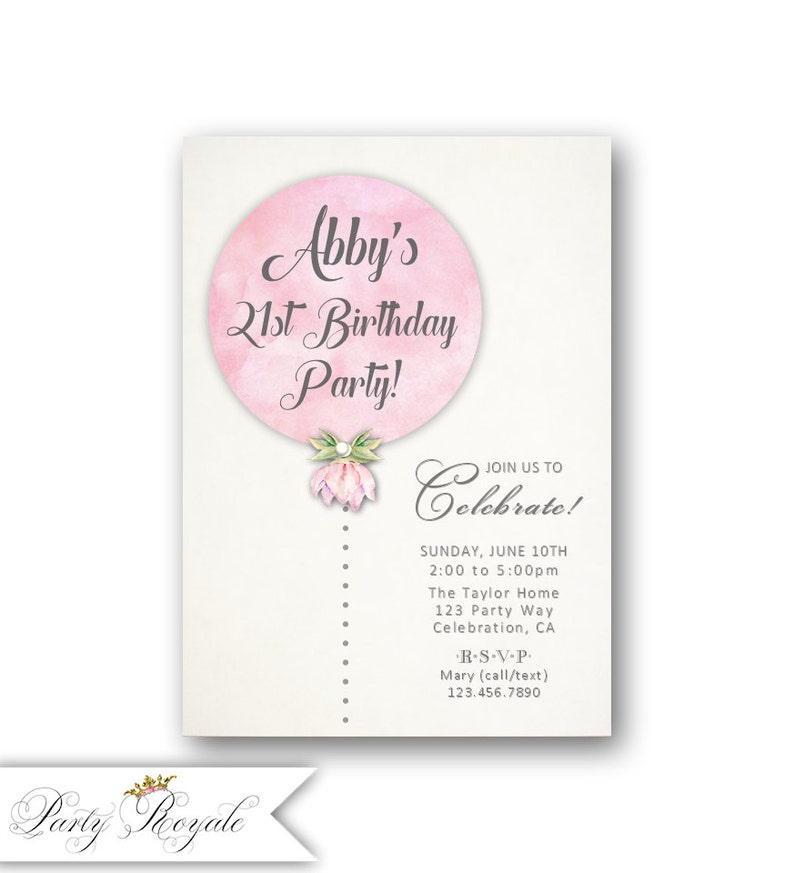 Balloon 21st Birthday Invitations For Her Womens