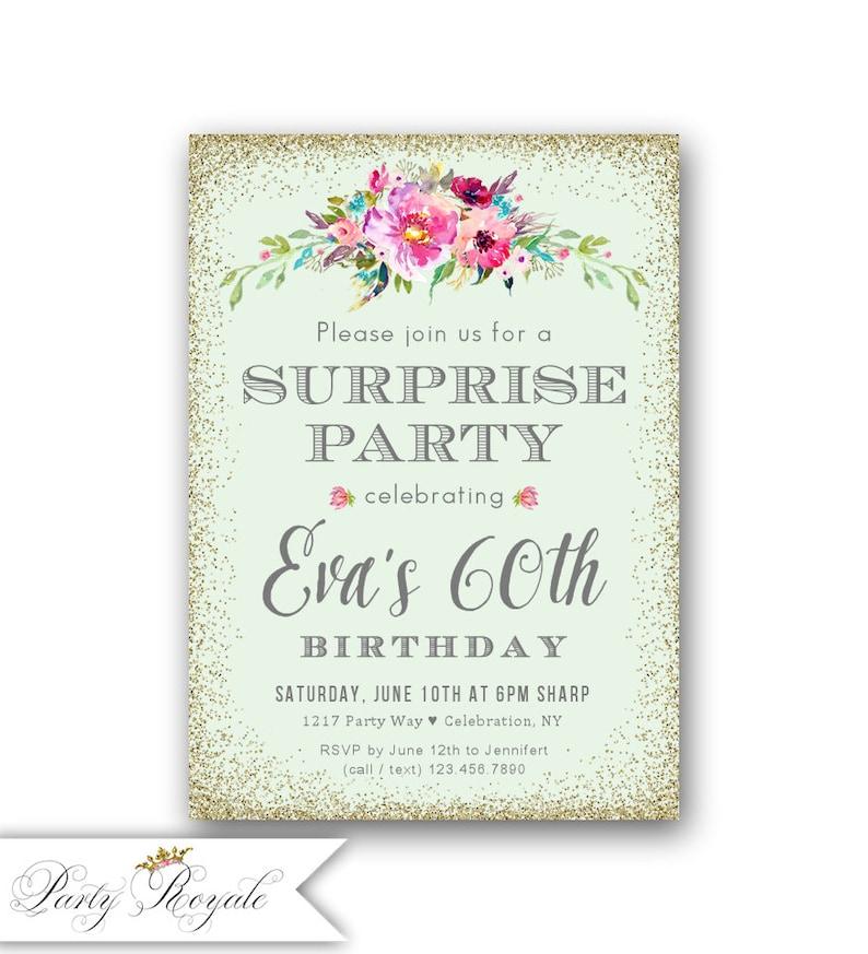 60th Surprise Birthday Invitations Women S 60th Birthday Etsy